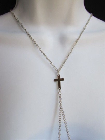 Other Women Silver Classic Fashion Metal Double Cross Body Chain