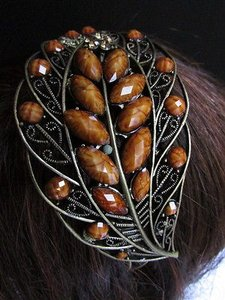 Other Women Brown Beads Rhinestones Big Leaf Leaves Fashion Head Band Hair Accessories