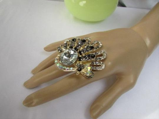 Other Women Silver Pewter Rhinestones Big Metal Peacock Fashion Ring Elastic