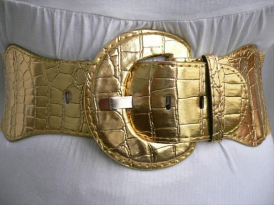 Other Chic Women Hip Elastic Wide High Waist Metallic Gold Fashion Belt