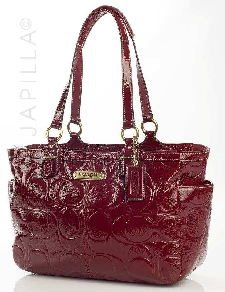 Coach F19462 Embossed Gallery Tote Red Patent Leather Shoulder Bag Tradesy