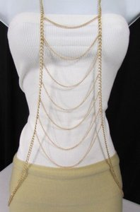 Women Gold Chains Long Waves Layered Metal Full Body Jewelry Trendy Necklace