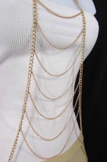 Other Women Gold Chains Long Waves Layered Metal Full Body Jewelry