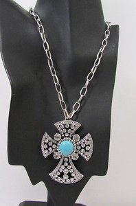 Other Women Silver Metal Long Fashion Necklace Big Round Cross Rhinestone Earring