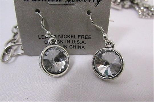 Other Women Silver Metal Necklace Big Round Cross Rhinestone Earring
