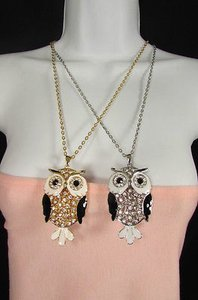 Women Fashion Necklace Long Chain Big Owl Bird Allow Pendant Gold Silver