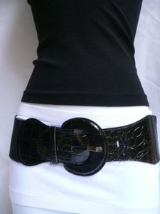 Women Hip High Waist Stretch Wide Black Fashion Belt Plus