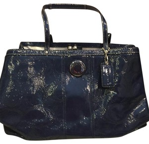 Coach Patent Leather 3 Inside Pockets Tote in Royal Blue