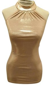 Forever 21 Dressy Xs Tie Gold Halter Top