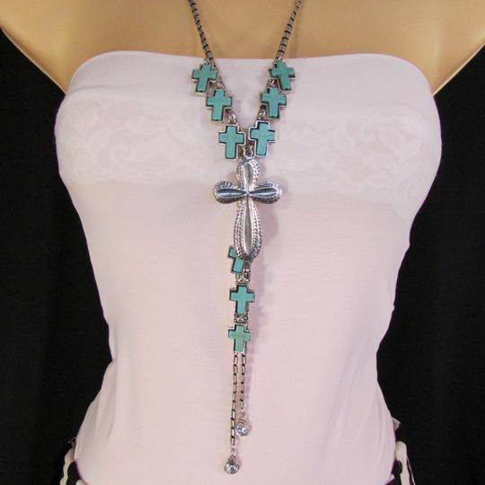 Other Women Silver Metal Necklace Traditional Crosses Blue Beads Earrings