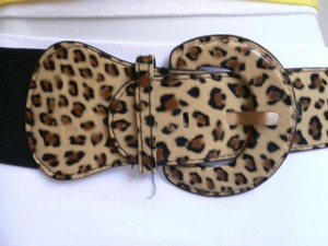 Women Hip High Waist Brown Beige Leoprard Animal Print Wide Belt