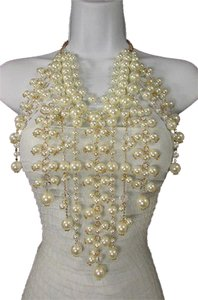Women 20 Long Fashion Gold Necklace Multi Imitation Pearl Beads Earring Set