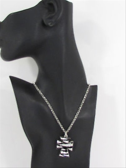 Other Women Silver Black Chain Necklace Zebra Cross Pendant Rhinestones