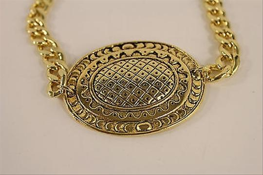 Other Women Fashion Jewelry Boot Bracelet Gold Metal Chain Bling Big Oval Shield Charm
