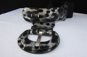 Other Women Fashion Hip Elastic High Waist Black Silver Leopard Belt