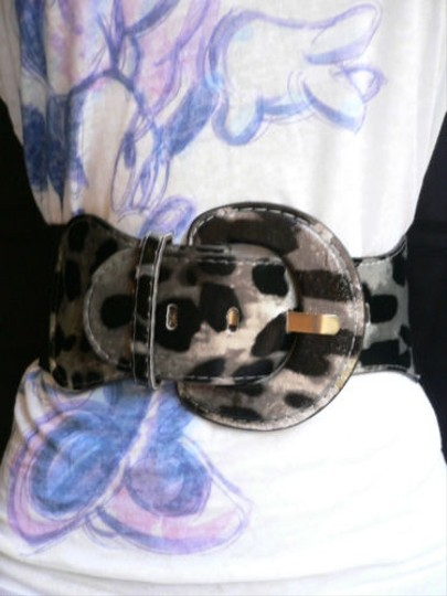 Other Women Belt Tiger Print Hip High Waist Leopard Black Silver