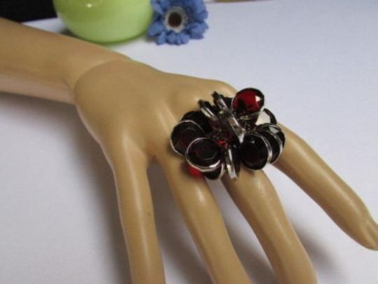 Other Women Silver Metal Big Fashion Ring Multi Red Beads Popular Trendy Style
