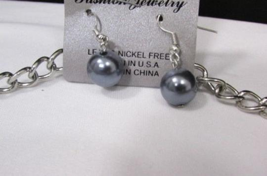 Other Women 20 Long Silver Fashion Necklace Pewter Imitation Pearl Beads Earring