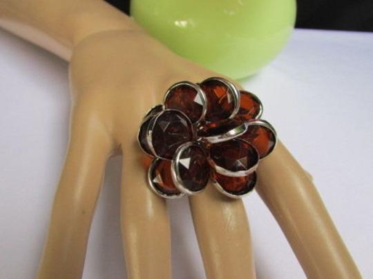 Other Women Silver Metal Big Fashion Ring Multi Brown Beads Popular Trendy Style