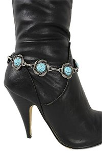 Other Women Fashion Jewelry Boot Anklet Bracelet Silver Metal Chain Turquoise Charm