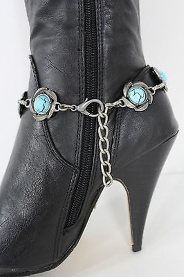 Other Women Jewelry Boot Anklet Bracelet Silver Metal Chain Turquoise Charm