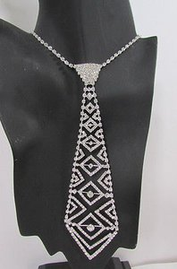 Other Women Fashion Necklace Trendy Neck Tie Multi Silver Rhinestones Jewelry
