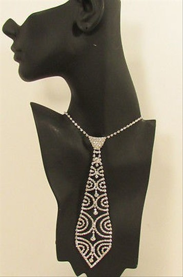 Other Women Necklace Trendy Neck Tie Multi Silver Rhinestones Jewelry