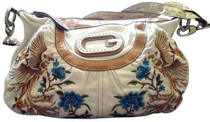 Guess Unique Embroidered Denim Satchel in White
