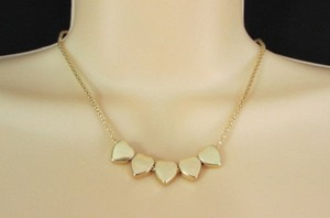 Women Gold Thin Metal Chain Fashion Necklace Five Mini Hearts Long Pendant