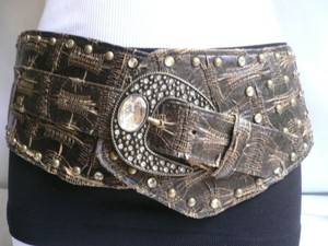 Other Women 4 Wide Dark Brown Western Fashion Belt Big Silver Rhinestones 36-40