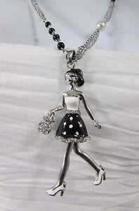 Women Silver Metal Chains Fashion Necklace Shopping 60s Lady Pendant