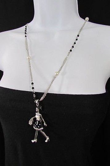 Other Women Silver Metal Chains Necklace Shopping 60s Lady Pendant