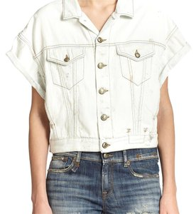 R13 White Womens Jean Jacket