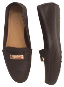 Coach Leather Slip-ons Dark Brown Rose Gold Flats