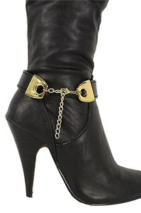 handmade Women Fashion Jewelry Boot Anklet Bracelet Black Faux Leather Strap Gold Chain