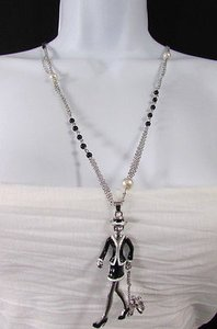 Other Women Silver Metal Chains Fashion Necklace Lady Walking A Dog