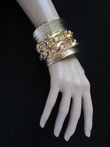 Other Women Wide Gold Metal Chains Cuff Fashion Bracelet Side Silver Rhinestones