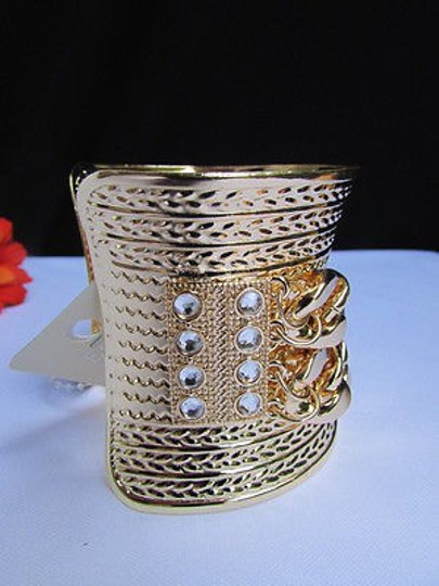 Other Women Wide Gold Metal Chains Cuff Fashion Bracelet Side Silver stones