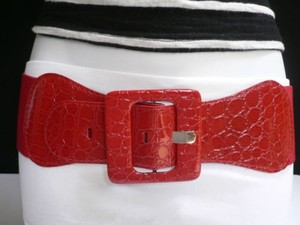 Women Red Chic Wide Fashion Belt Hip Elastic High Waist