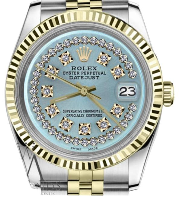 Rolex Men's 36mm Datejust2tone Ice Blue String Diamond Dial Watch Rolex Men's 36mm Datejust2tone Ice Blue String Diamond Dial Watch Image 1