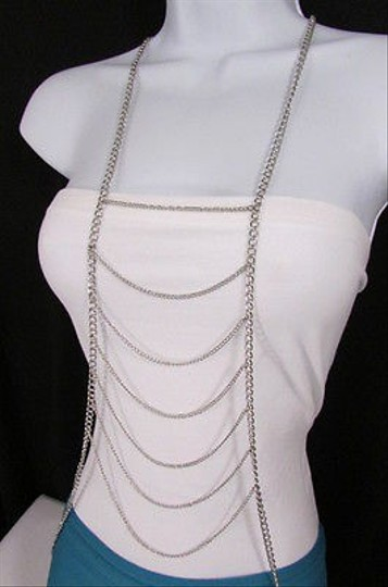 Other Women Silver Long Waves Metal Body Chain Necklace Fashion Jewelry