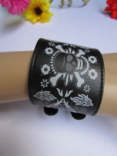 Other Women White Skull Black Bracelet Faux Leather Fashion Motorcycle Punk Rock Style