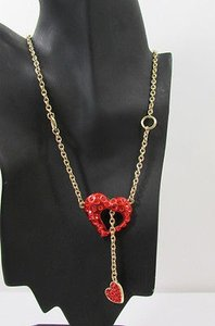 Women Gold Metal Chain Long Fashion Necklace Inside Out Red Heart Rhinestone