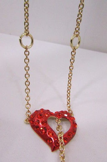 Other Women Gold Metal Chain Long Necklace Inside Out Red Heart Rhinestone