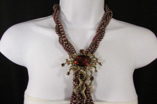 Other Women Brown Beads Long Twisted Fashion Necklace Big Flare Broach Earrings