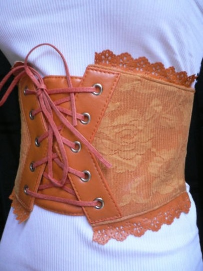 Other Women Elastic Orange Wide Corset High Waist Flowers Belt