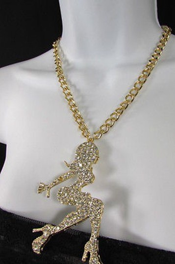 Other Women Gold Metal Chains Fashion Necklace Body Rhinestone