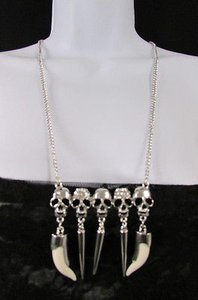 Women Silver Metal Chain Long Fashion Necklace Mini Skulls Rhinestones Teeth