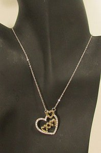 Women Fashion Necklace 10 Long Big Heart Love Mom Rhinestones Silver Gold