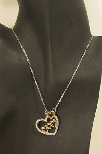 Other Women Necklace 10 Long Big Heart Love Mom Rhinestones Silver Gold